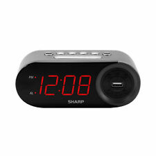 Sharp Bedside Alarm Clock with 1 Rapid Charge Usb Phone Charging Port Us Seller