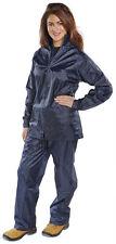 Womens Waterproof Suit Jacket & Trouser Rain Set Ladies Coat Mac Golf Hike Navy