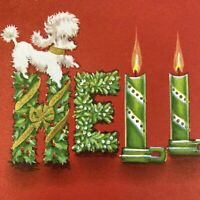 Vintage Mid Century Christmas Greeting Card Cute White Poodle Dog Holly Noel