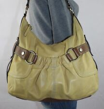 TIGNANELLO Lrg Yellow Brown Leather Shoulder Hobo Tote Satchel Slouch Purse Bag