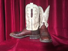 Vintage Lucchese Ostrich Skin Square Toe Sz 10 Brown & White Leather Boots Mens