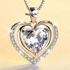 VALENTINES GIFTS FOR HER Crystal Heart Necklace Wife Girlfriend Women Mum J676