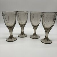 Noritake Sweet Swirl Glasses Gray Set 4 Water Goblets 7.5 Wine Smoke Tawny Brown