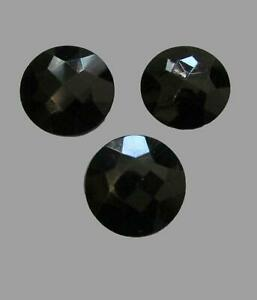 3pc Vintage 1in Faceted Round Black Glass Shank Buttons