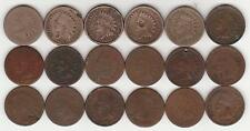 (18) Indian Head Cents / Pennies SCARCE DATES Incl Copper Nickel, 1870s, + 1908S