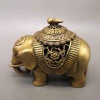 "5"" Chinese old antique bronze Elephant Incense Burner statue"