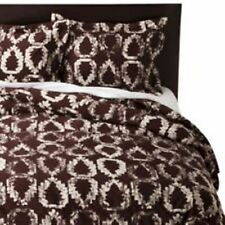 Nate Berkus King 3-Piece Duvet Cover Set Burgundy White Leaf Pattern New
