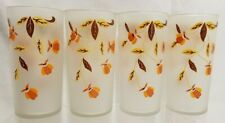 Hall Jewel Tea Autumn Leaf Libbey Set of 4 Frosted Glasses/Tumblers 5.5""