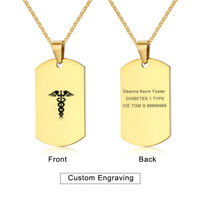 Gold Medical Alert ID ICE Contact Men Necklace Chain Pendant Dog Tag Life Saving