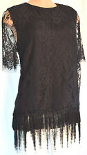 ADAM LIPPES BLACK FRINGE LACE CHEER SHORT SLEEVES CREW BLOUSE SIZE 12