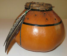 Tampa Artist Marilyn J Margo Annis Painted Gourd Vessel Fiber Art Feathers 1994