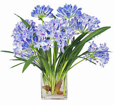 FLOWER ARRANGEMENTS - BLUE AGAPANTHUS WATER FLORAL - SILK FLORAL ARRANGEMENT