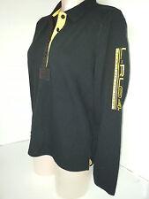 RALPH LAUREN Polo Rugby Womens Long Sleeve Button Front Shirt Sz Medium Black