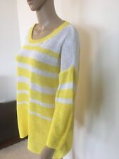 Sportscraft Ladies Yellow and White Stripe Linen Jumper - Size Large