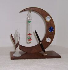 Hand Made Weather Station Black Walnut Fitzroy Storm Glass Galileo Thermometer