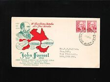 "Australia Fdc John Forrest Joined Pr 1949 Ballarat Centenial Stamp Cinderella Ã"""