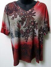 Lane Bryant 14/16 Large Red White Black Floral Gem Stud Embellished Shirt Top