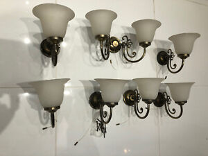 Glass Brass Wall Lights 6 Single & 1 Double With Pull Switches Built In Vintage