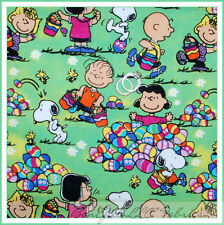 BonEful Fabric FQ Cotton VTG Easter Egg Rain*bow Peanuts Charlie Brown Snoopy US