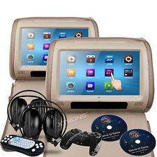 "Pair Beige 9"" Touch Screen Car Dual DVD Player Pillow Top Headrest Game Headsets"