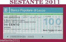 BANCA POPOLARE DI LECCO, LIRE 100 28.3. 1977,  UNIONE COMMERCIANTI, FDS, B22