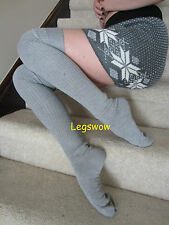 Long Grey Over The Knee Slouch Socks OTK Cable Knit Thigh High Black Loose Baggy