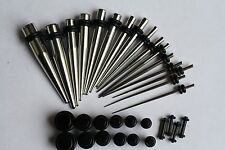 0g 2g 4g 6g 8g 12g 14g - 32pc Ear Stretching Kit  gauge STEEL Tapers BLACK Plugs