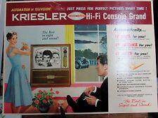 VINTAGE RETRO 1950s ADVERTISING CARD SHOP SIGN KRIESLER VALVE TELEVISION RADIO