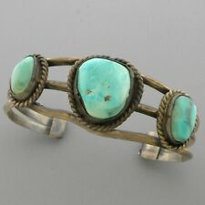 VINTAGE NAVAJO STERLING SILVER ROYSTON TURQUOISE CUFF BANGLE