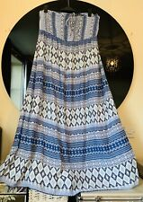 BNWOT Monsoon Blue Boho Maxi Dress Size 20+ Beach Halterneck/Strapless