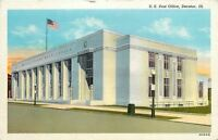 Decatur Illinois~United States Post Office~1936 Linen Postcard