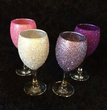 Set Of 4 Glitter Wine Glasses Or Champagne Flutes İn Any Choice Of Colours