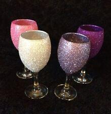 Set Of 4 Glitter Wine Glasses Ready To Post - Purple/Pink Mix - 1st pic