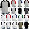 Plain Baseball  Raglan 3/4 Sleeve  Active Jersey Multi color Cotton T shirt
