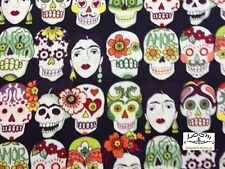 RPB133D Gotas De Amor Frida Kahlo Sugar Skull Mexico Folk Cotton Quilting Fabric