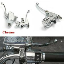 Chrome Motorcycle Left Clutch Lever + Right Brake Master Cylinder Aluminum Alloy