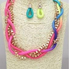 """18"""" Adjustable Multi-Color and Gold Tone Braided Necklace W Earrings"""