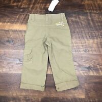 NWT Jean Bourget Designer Tan Brown Cargo Roll Up Pants size 5A Girls Youth