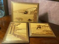 Vtg Wood Inlaid Marquetry Sailboat Ocean Villa Seascape Art Work Collection of 3