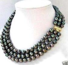 Fashion jewelry 3 row 6-7MM Black akoya Pearl Necklace 17-19 PN542