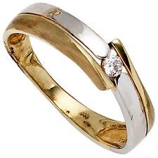 Echtschmuck-Ringe aus Gelbgold mit Zirkon-Hauptstein