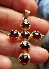 Rare bijou ancien en pendentif  croix   or 18k grenat