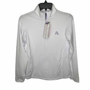 Rhoback Womens The Betty 1/4 Zip Jacket  XS White Pullover Long Sleeve Stretch