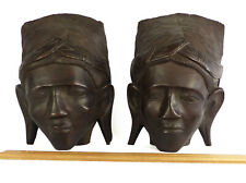 Bali Bookends Men Hand Carved Wood 2 Male Busts Indonesian Heavy Mahogony 1950s