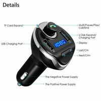 Bluetooth In-Car Wireless FM Transmitter MP3 Radio Adapter Black Dual USB Charge