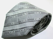Bvlgari Striped Pattern Gray Color Silk 7 Fold Necktie Tie Made In Italy