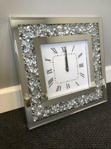 Gatsby Modern Diamante Crush Crystal Mirror Square Glass Wall Clock 35cm Silver