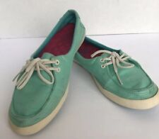Vans Womens Off The Wall Teal Blue Surf Siders Rata Lo Hemp Shoes Flats 7.5