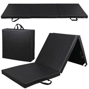 6' Exercise Tri-Fold EPE Foam PU Leather Gym Mat Yoga Martial Arts Home Gym