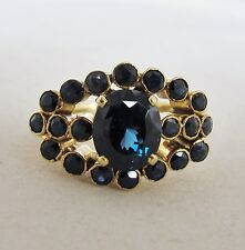 14K Yellow Gold Ring with Rare Blue Spinel & Sapphires  (8.6 grams, size 8.5)
